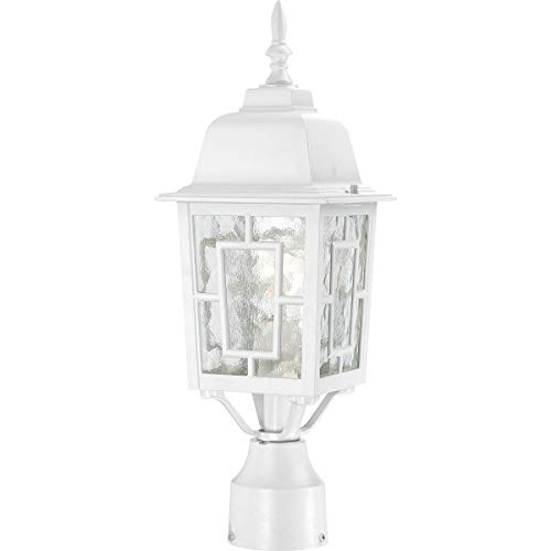 Nuvo Lighting 604927 Banyon One Light Post Lantern 100 Watt A19 Max Clear Water Glass White Outdoor Fixture 0