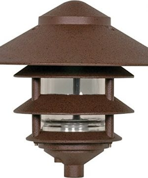Nuvo Lighting SF76637 Outdoor Pathway And Garden 3 Louver Pagoda Light Fixture Large 10 Inch Hood 100 Watts120 Volts Bronze 0 300x360