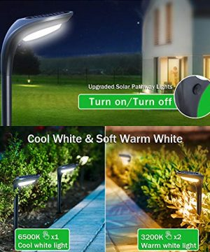 OSORD Outdoor Solar Pathway Lights Waterproof 2 In 1 Solar Powered Wall Light Landscape Lighting Auto OnOff With 2 Color Modes Solar Lights For Garden Path Yard Patio Walkway Driveway Pool 4 Pack 0 3 300x360