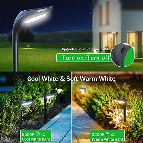 OSORD Outdoor Solar Pathway Lights Waterproof 2 In 1 Solar Powered Wall Light Landscape Lighting Auto OnOff With 2 Color Modes Solar Lights For Garden Path Yard Patio Walkway Driveway Pool 4 Pack 0 3