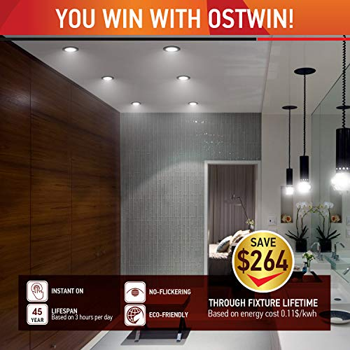 OSTWIN 4 Inch Ultra Thin LED Recessed Ceiling Light With J Box 12W60Watt Eqv Dimmable IC Rated Color Temperature Selectable 3000K 4000K 5000K 900 Lm Black Finish ETL And Energy Star Set Of 12 0 4
