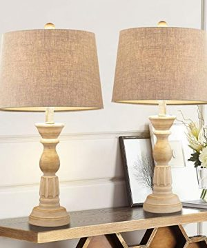 Oneach Table Lamps Set Of 2 For Living Room Bedside Desk Lamps Vintage Bedroom Lamps For Study Kids Room Office White Washed 0 300x360