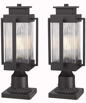 Osimir Outdoor Post Lantern 2 Pack Modern Exterior Post Lamp With Pier Mount BasePost Light In Black Finish With Clear Ribbed Glass 7W X 18H 23771GL 2PK 0 300x360