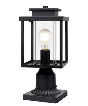 Osimir Outdoor Post Light 1 Light Exterior Post Lantern With Pier Mount Base Lamp Post Light Fixture In Black Finish With Cylinder Glass 67W X 15H 23531G 0 300x360