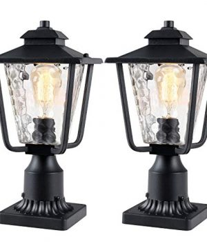 Osimir Outdoor Post Light 2 Pack Outdoor Post Lantern With Pier Mount Adapter 79W X 134H Pier Light In Sanded Black Finish With Bubble Glass Lamp Post Mount Lighting Fixture 2145 1G 2PK 0 300x360