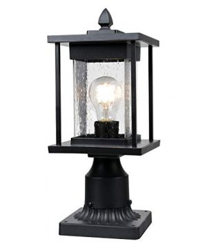 Osimir Outdoor Post Light Modern Farmhouse Exterior Post Lantern With Pier Mount Base 16H Patio Post Lights Fixture Black Finish With Seeded Glass 85981G 0 300x360