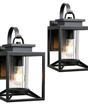 Osimir Outdoor Wall Light 2 Pack Modern Farmhouse Outdoor Wall Sconce Lighting In Black Finish With Cylinder Glass 23531W 2PK 0 300x360