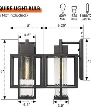 Osimir Outdoor Wall Sconce 2 Pack Farmhouse Style Exterior Wall Lantern In Black Finish With Bubble Glass Lamp Shade 15 Inch Modern Outdoor Lighting Fixtures 23751WL 2PK 0 1 300x360