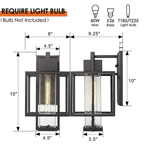Osimir Outdoor Wall Sconce 2 Pack Farmhouse Style Exterior Wall Lantern In Black Finish With Bubble Glass Lamp Shade 15 Inch Modern Outdoor Lighting Fixtures 23751WL 2PK 0 1