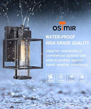 Osimir Outdoor Wall Sconce 2 Pack Farmhouse Style Exterior Wall Lantern In Black Finish With Bubble Glass Lamp Shade 15 Inch Modern Outdoor Lighting Fixtures 23751WL 2PK 0 2 300x360