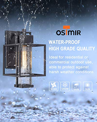 Osimir Outdoor Wall Sconce 2 Pack Farmhouse Style Exterior Wall Lantern In Black Finish With Bubble Glass Lamp Shade 15 Inch Modern Outdoor Lighting Fixtures 23751WL 2PK 0 2