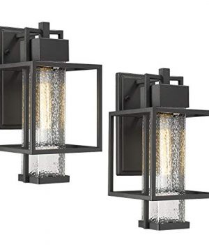 Osimir Outdoor Wall Sconce 2 Pack Farmhouse Style Exterior Wall Lantern In Black Finish With Bubble Glass Lamp Shade 15 Inch Modern Outdoor Lighting Fixtures 23751WL 2PK 0 300x360