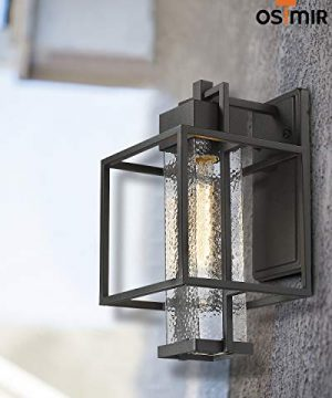 Osimir Outdoor Wall Sconce 2 Pack Farmhouse Style Exterior Wall Lantern In Black Finish With Bubble Glass Lamp Shade 15 Inch Modern Outdoor Lighting Fixtures 23751WL 2PK 0 4 300x360