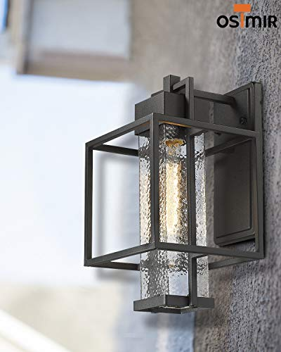 Osimir Outdoor Wall Sconce 2 Pack Farmhouse Style Exterior Wall Lantern In Black Finish With Bubble Glass Lamp Shade 15 Inch Modern Outdoor Lighting Fixtures 23751WL 2PK 0 4