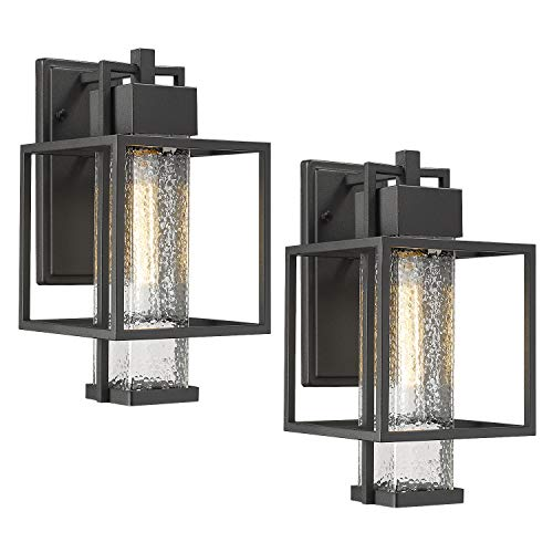 Osimir Outdoor Wall Sconce 2 Pack Farmhouse Style Exterior Wall Lantern In Black Finish With Bubble Glass Lamp Shade 15 Inch Modern Outdoor Lighting Fixtures 23751WL 2PK 0