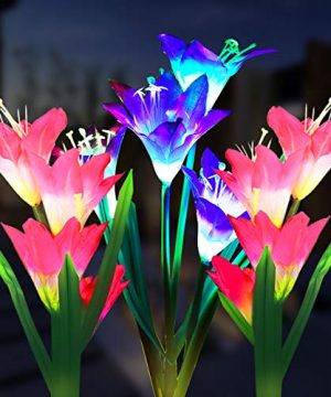 Outdoor Solar Garden Stake Lights 3 Pack Solar Powered Flower Lights With 12 Lily Flower Multi Color Changing LED Solar Landscape Decorative Lights For Garden Patio Backyard Solar Flower Lights 0 300x360