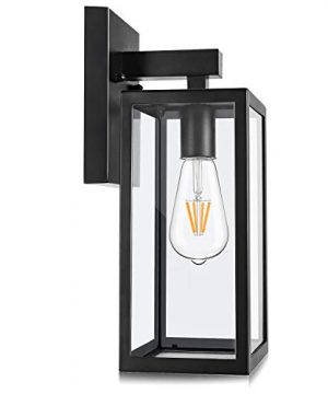 Outdoor Wall Lantern Exterior Waterproof Wall Sconce Light Fixture Matte Black Anti Rust Wall Mount Light With Clear Glass Shade E26 Socket Wall Lamp For Porch Entryway Doorway Bulb Not Included 0 300x360