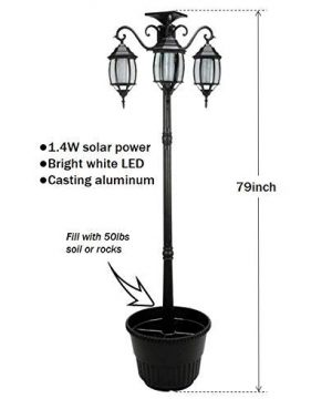 PierSurplus 3 Head LED Solar Lamp Post Light With Planter For Outdoor And Yard 67 Ft 80 In Black 0 0 300x360