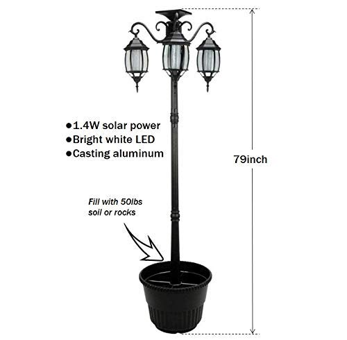 PierSurplus 3 Head LED Solar Lamp Post Light With Planter For Outdoor And Yard 67 Ft 80 In Black 0 0