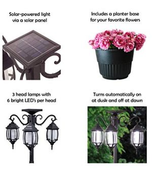 PierSurplus 3 Head LED Solar Lamp Post Light With Planter For Outdoor And Yard 67 Ft 80 In Black 0 1 300x360