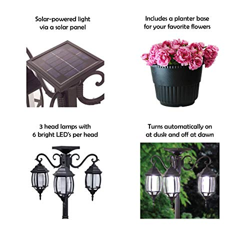 PierSurplus 3 Head LED Solar Lamp Post Light With Planter For Outdoor And Yard 67 Ft 80 In Black 0 1