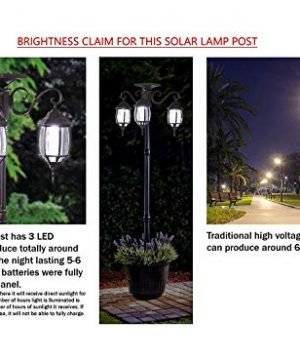 PierSurplus 3 Head LED Solar Lamp Post Light With Planter For Outdoor And Yard 67 Ft 80 In Black 0 2 300x360