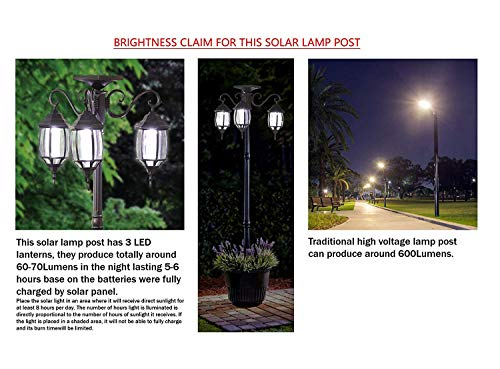 PierSurplus 3 Head LED Solar Lamp Post Light With Planter For Outdoor And Yard 67 Ft 80 In Black 0 2
