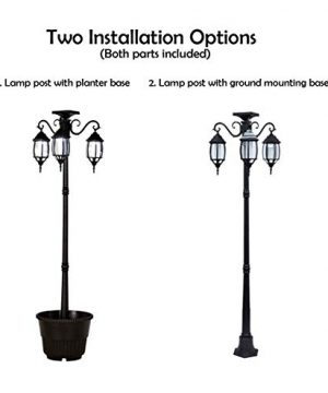 PierSurplus 3 Head LED Solar Lamp Post Light With Planter For Outdoor And Yard 67 Ft 80 In Black 0 4 300x360