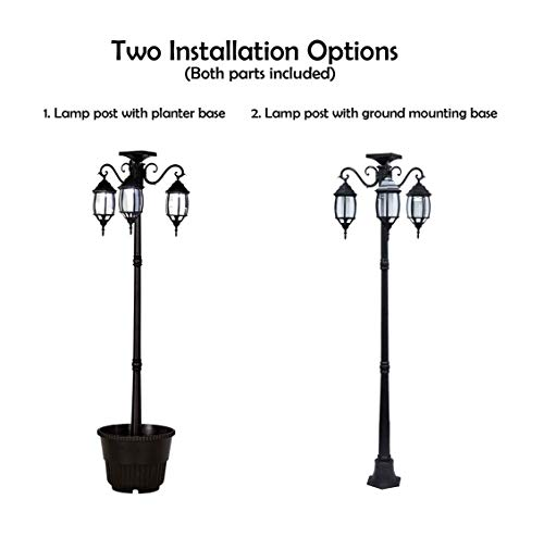 PierSurplus 3 Head LED Solar Lamp Post Light With Planter For Outdoor And Yard 67 Ft 80 In Black 0 4