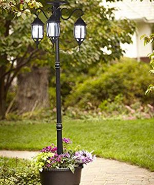PierSurplus 3 Head LED Solar Lamp Post Light With Planter For Outdoor And Yard 67 Ft 80 In Black 0 5 300x360