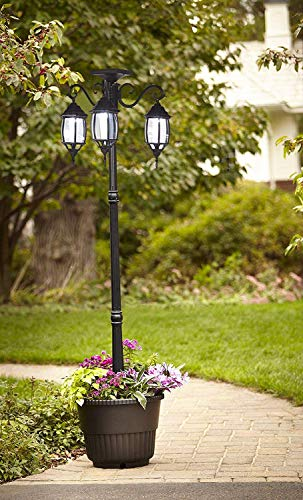 PierSurplus 3 Head LED Solar Lamp Post Light With Planter For Outdoor And Yard 67 Ft 80 In Black 0 5