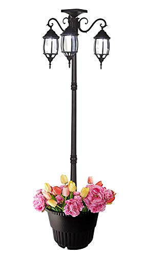 PierSurplus 3 Head LED Solar Lamp Post Light With Planter For Outdoor And Yard 67 Ft 80 In Black 0