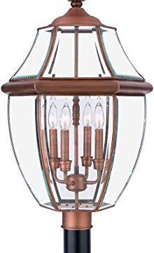 Quoizel NY9045AC Newbury Outdoor Post Lantern Pier Mount Lighting 4 Light 240 Watts Aged Copper 30H X 16W 0 220x360