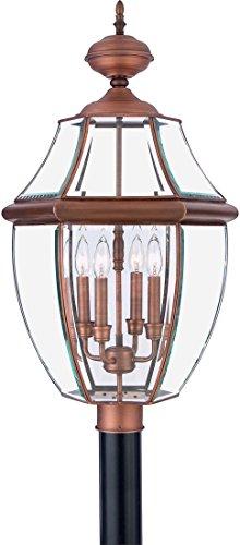 Quoizel NY9045AC Newbury Outdoor Post Lantern Pier Mount Lighting 4 Light 240 Watts Aged Copper 30H X 16W 0