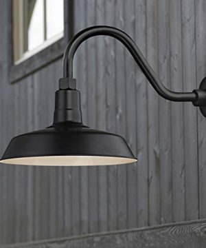 Recesso Lighting Black Farmhouse Style Industrial Gooseneck Outdoor Barn Light With 12 Inch Shade For Wet And Damp Locations 0 0 300x360