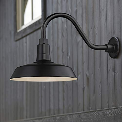 Recesso Lighting Black Farmhouse Style Industrial Gooseneck Outdoor Barn Light With 12 Inch Shade For Wet And Damp Locations 0 0