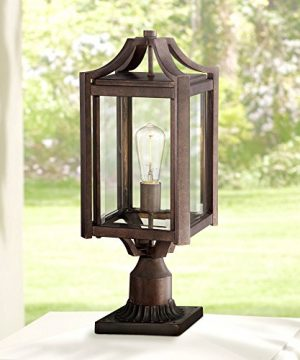 Rockford Rustic Farmhouse Outdoor Post Light Fixture Bronze Iron 20 14 Clear Beveled Glass For Exterior Garden Yard Franklin Iron Works 0 300x360
