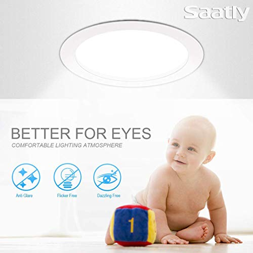 SAATLY 13W 6 Inch LED Recessed Lighting Ultra Thin Ceiling Downlight With Junction Box 5000K Daylight Dimmable 850lm 110W Eqv ETL Energy Star13W 5000K Daylight 12 Pcs 0