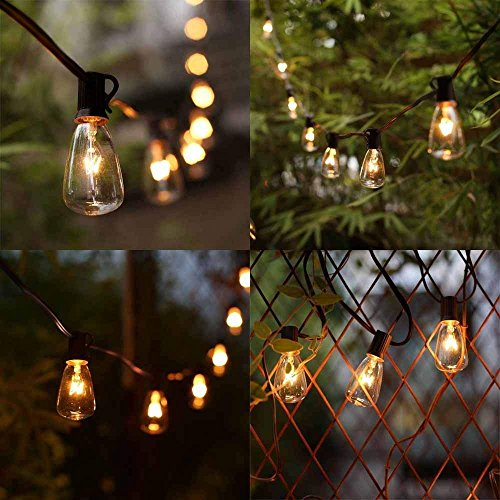 ST38 10Ft String Lights With 11 Clear Edison Light Bulbs UL Listed E12 Base For Party Porch Backyard Patio Black Wire 0 5