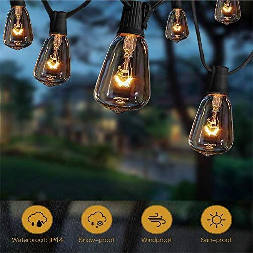 ST38 10Ft String Lights With 11 Clear Edison Light Bulbs UL Listed E12 Base For Party Porch Backyard Patio Black Wire 0