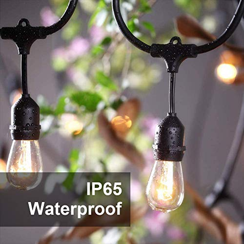SUNTHIN 2 Pack 48FT Outdoor String Lights With 11W Dimmable Edison Bulbs For Decorative Backyard Patio Bistro Pergola Commercial Hanging Lights String 0 2