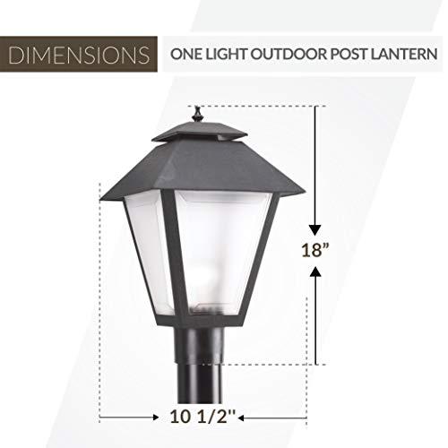 Sea Gull Lighting 82065 12 Polycarbonate One Light Outdoor Post Lantern Outside Fixture Black Finish 0 1