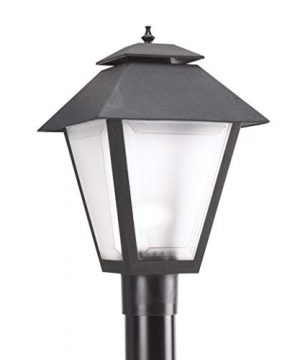 Sea Gull Lighting 82065 12 Polycarbonate One Light Outdoor Post Lantern Outside Fixture Black Finish 0 300x360