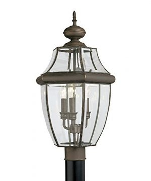 Sea Gull Lighting 8239 71 Lancaster Three Light Outdoor Post Lantern With Clear Curved Beveled Glass Panels Antique Bronze Finish 0 300x360
