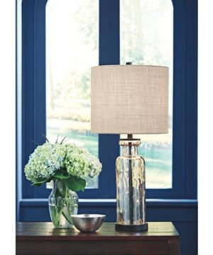 Signature Design By Ashley Laurentia Glass Table Lamp With Drum Shade Champagne Toned 0 0 300x360