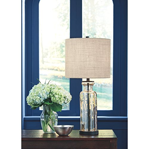 Signature Design By Ashley Laurentia Glass Table Lamp With Drum Shade Champagne Toned 0 0