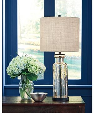Signature Design By Ashley Laurentia Glass Table Lamp With Drum Shade Champagne Toned 0 1 300x360