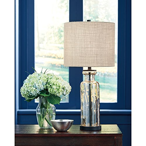 Signature Design By Ashley Laurentia Glass Table Lamp With Drum Shade Champagne Toned 0 1