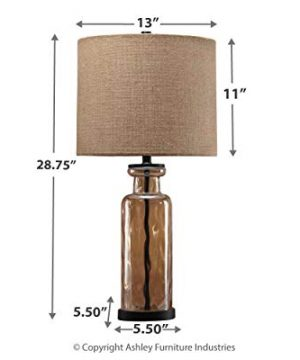 Signature Design By Ashley Laurentia Glass Table Lamp With Drum Shade Champagne Toned 0 2 300x360