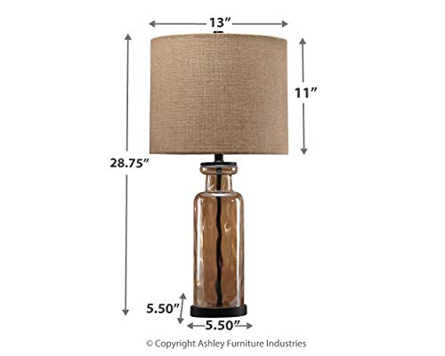 Signature Design By Ashley Laurentia Glass Table Lamp With Drum Shade Champagne Toned 0 2